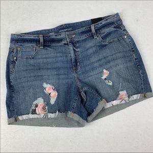 Lane Bryant Embroidered Denim Shorts 18 Distressed